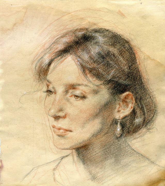 "Robert Liberace  Three Color Chalk Chalk and pencil on paper -2008 25.4 x 30.48 cm (10"" x 12"")"