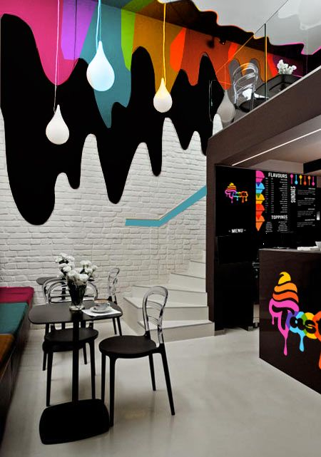 #Level4 Graphic Design // Ice cream parlour shop interior // ©Jennie Aitken                                                                                                                                                      More