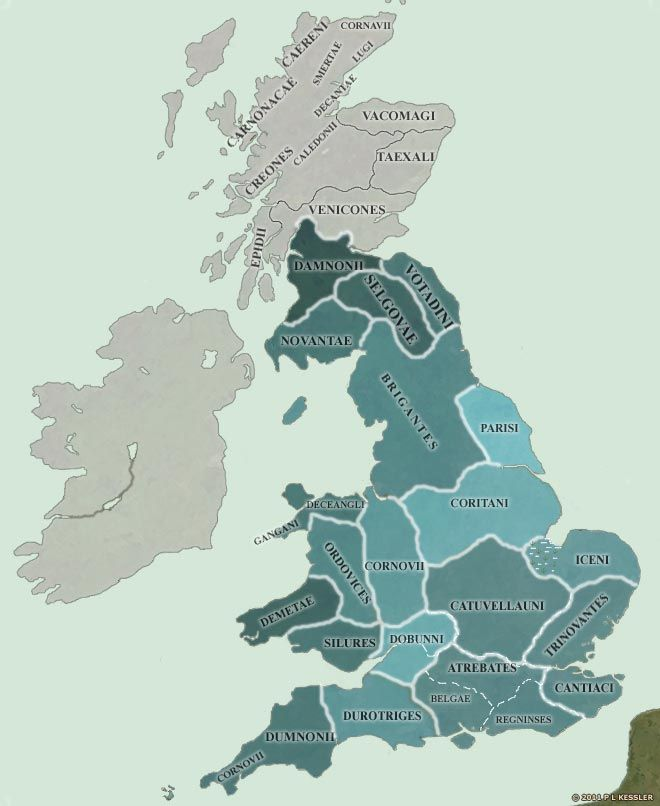 A map of Pre Roman Britain showing the