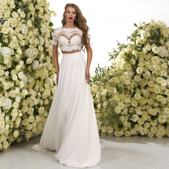 Beach Boho 2 Piece Wedding Dress Short Sleeve A Line Summer Sexy African Lace Bridal Gowns Chiffon Sweep Train Z819