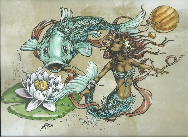 PISCES - African Zodiac from 2014 Art Publishers Calendar Illustrations by Blue Ocean Design