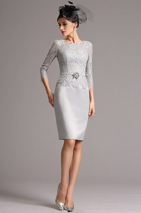 Sivé koktejlové šaty E00818