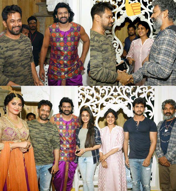 Tamil star Arjun Sarja congratulates Baahubali 2 star Prabhas with pictures of them bonding on the sets #FansnStars