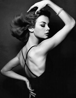 """I don't live my life through the prism of the past…I don't look back on my life […] I am a melancholy soul. [Yet] I'm not sure contentment is obtainable and I find the banality of modern life terrifying…""  Actress and model Jean Shrimpton (b. 1942), photographed by David Bailey, date unknown."