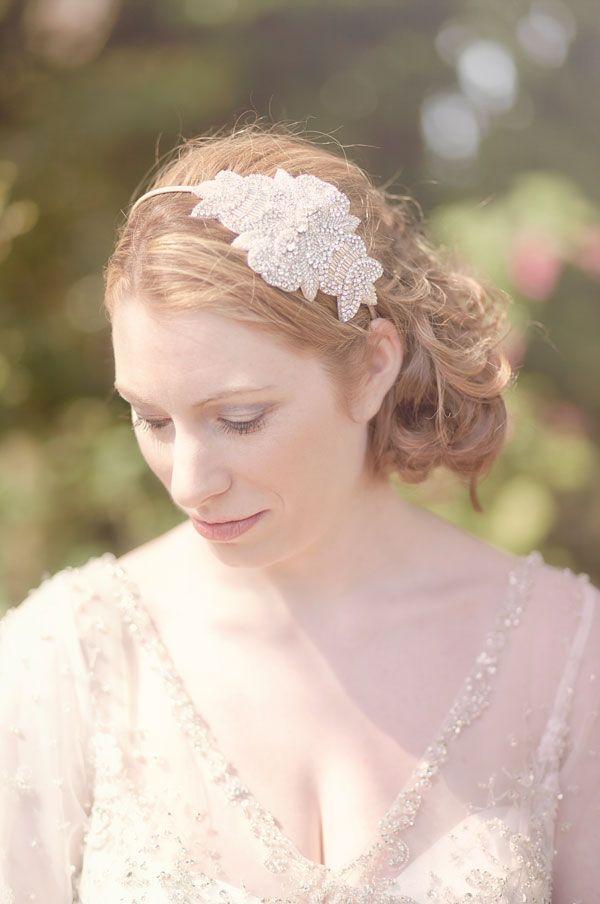 Vintage Wedding Hair - soft curly side bun with beaded hairband