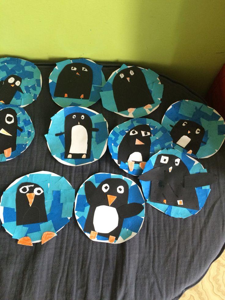 Práce dětí z mojí školní družiny - tučňáci (1.třída ZŠ) #children #handmade #penguins  #tučnáci