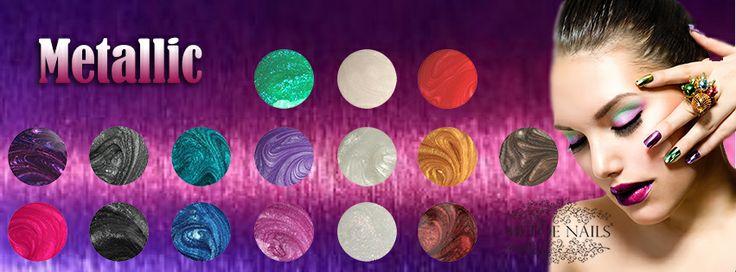 Color Gel Metallic. Metallic gels hebben schitterende kleuren die mooi blijven, zonder afbladderen of beschadigingen. De nagel gel heeft een gemakkelijke 1-laagsapplicatie. Alle gel kleuren zijn hoogglans en perfect voor natuurlijke nagels en overlays.