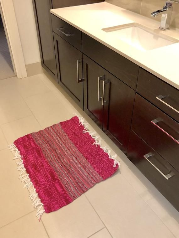 Hot Pink Ombre And Twisted Stripe Mat Handmade Doormat