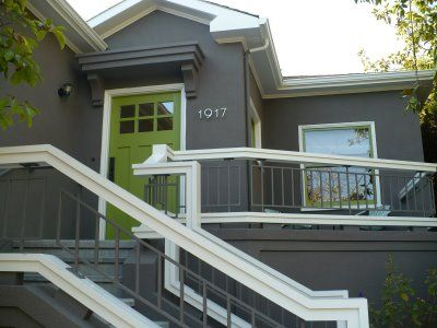 A Nice Strong Grey Exterior White Trim And A Lime Green Door Exteriors Pinterest Green