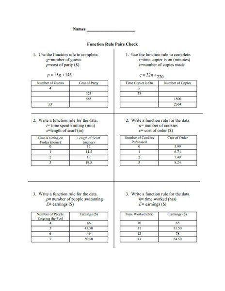 Writing A Function Rule Worksheet Function Rule Pairs ...