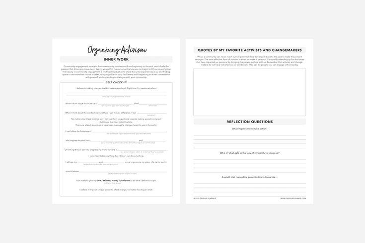 Organizing activism pdf free printable passion planner