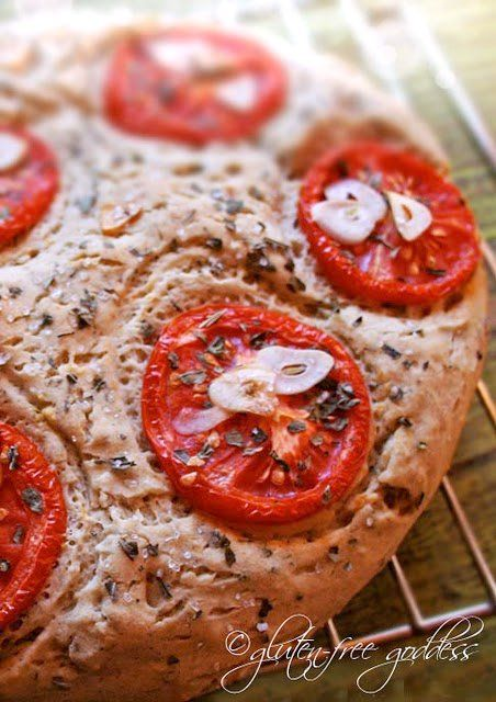 Wonderful gluten-free rustic bread, focaccia style with tomatoes and garlic. Bake in a cake pan.