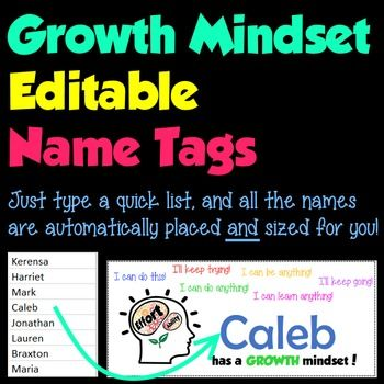 Encourage your students to have a Growth Mindset! You can very quickly and easily create colorful name tags/ name plates for lockers, desks, binders, or a bulletin board display, featuring each child's name and a few positive, encouraging words. Just type their names into one column of the included Excel document, and each student gets their own colorful, name tag.