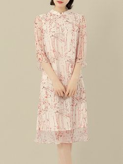 Pink Vintage Stand Collar Silk H-line Midi Dress