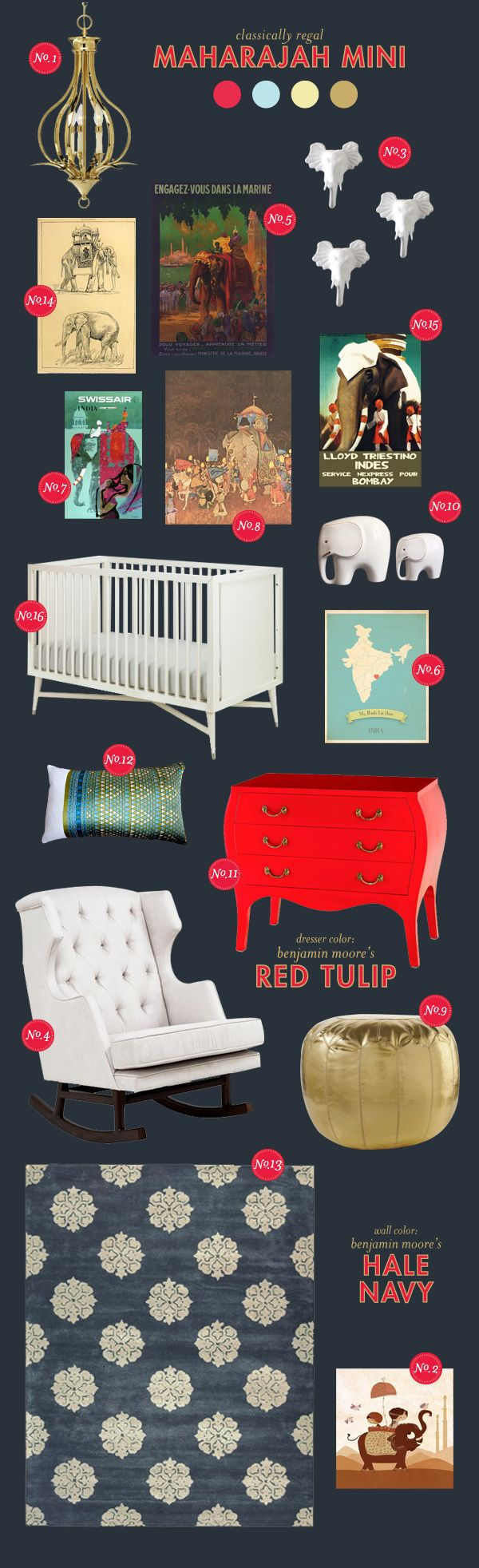 maharajah-mini elephant baby nursery inspiration board -- maybe more oranges than reds?