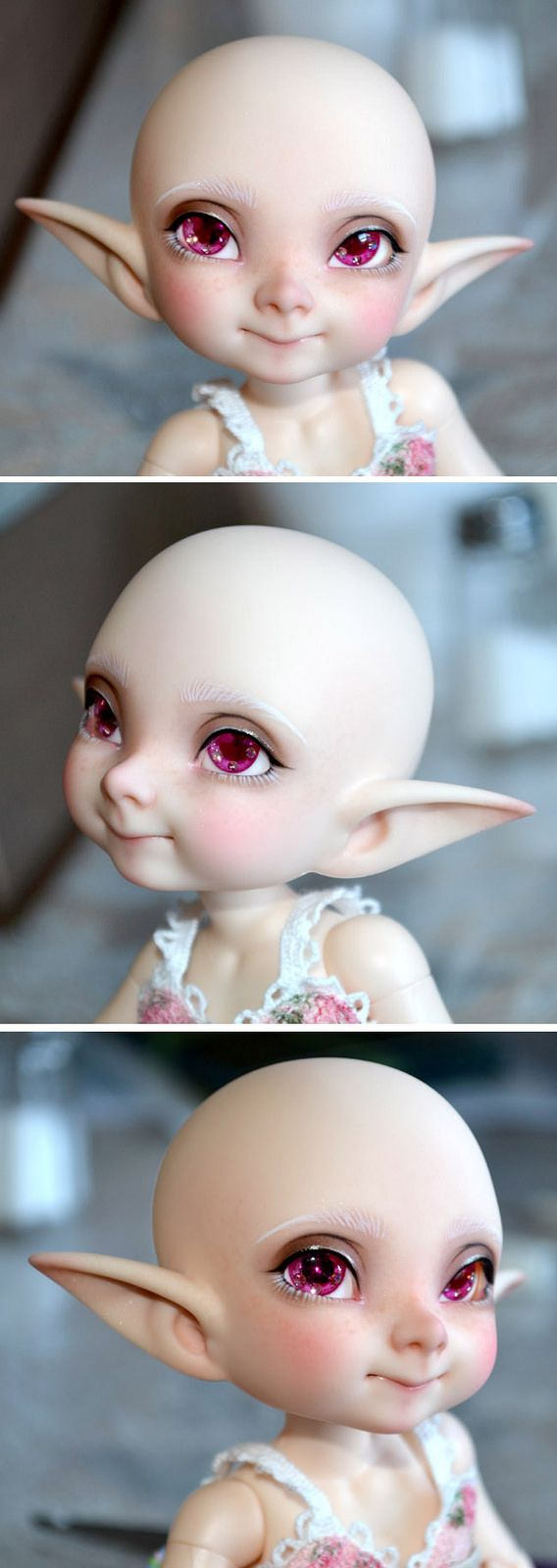 https://flic.kr/p/wUExfG | Realfee Pupu | Painted my pupu faceplate. She is cute but I am not sure if she's for me. Even though I tried to make her look sweet, something about the realfee version of the sculpt looks sneaky to me. Also very boyish. I dunno!