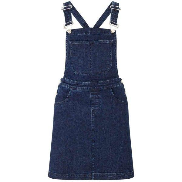 Miss Selfridge Dark Wash Denim Pinny Dress (555 SEK) ❤ liked on Polyvore featuring dresses, dark denim, blue pinafore dress, denim pinafore dress, blue dress, pinafore dress and blue denim dress