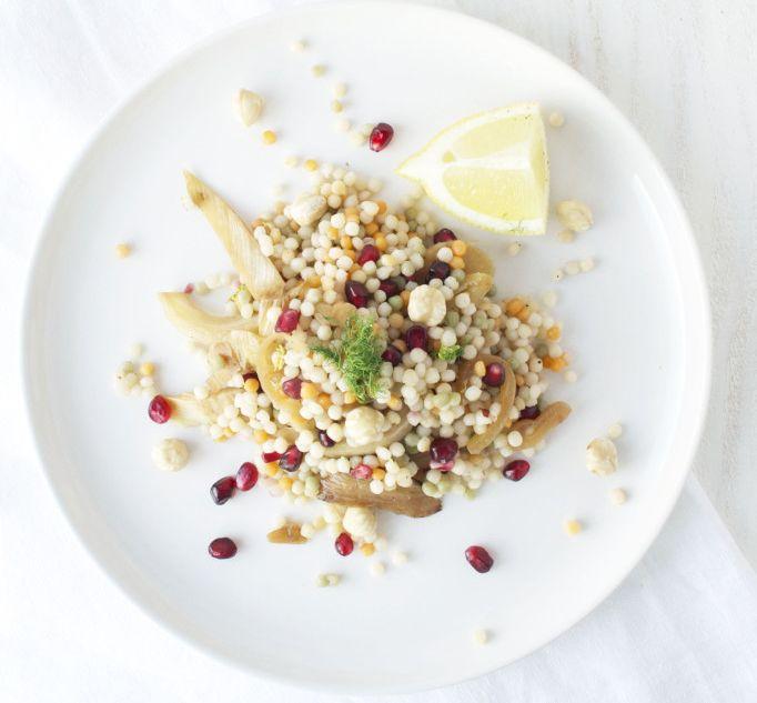 Couscous salade: Parelcouscous | Venkel | Granaatappelpitjes | Hazelnoten | Ui