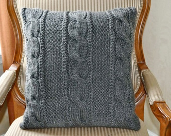Gray Pillow Case Knit Pillow Cable Pillow Case