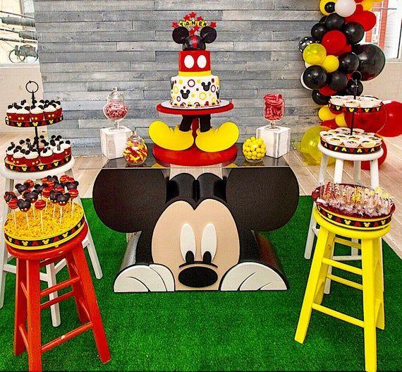 Mickey Party Theme Custom Foam Table Base Etsy In 2021 Mickey Mouse Birthday Decorations Mickey Mouse Clubhouse Birthday Party Decorations Mickey First Birthday