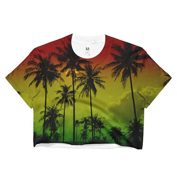 Rasta Ombre Tie Dye Crop Top Hippie Clothes Punk Tropical Palm  357d4c8aa62