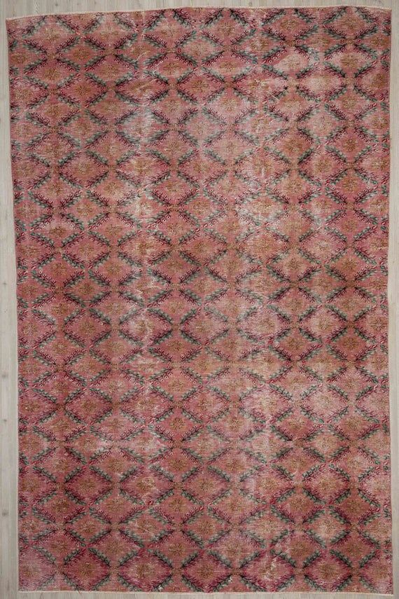 Oversize Turkish Rug 7 02 X 10 53 Pink Carpet Home Decor