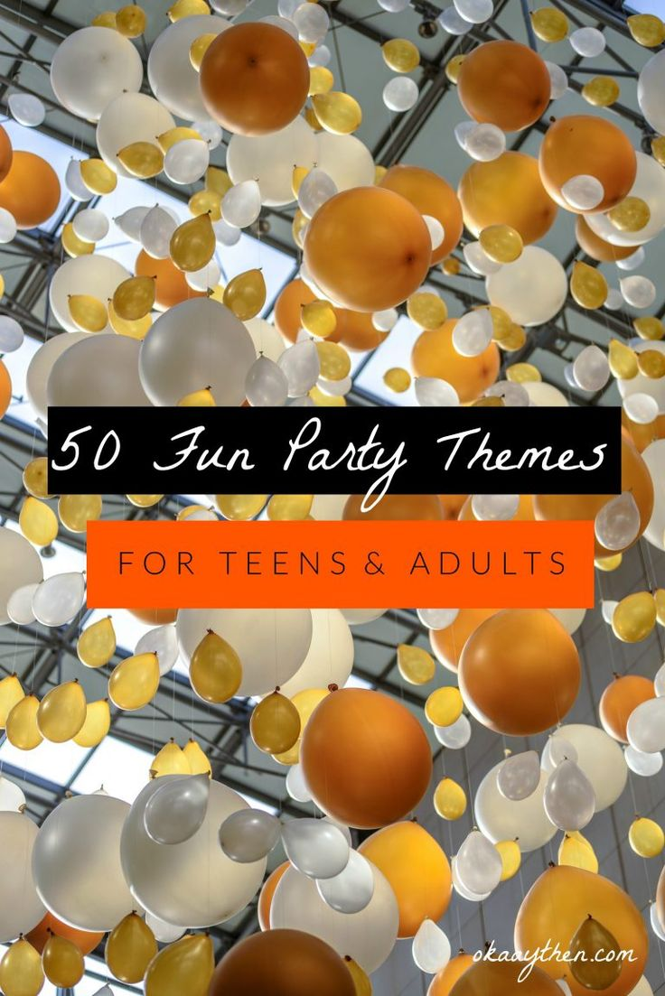 "** 50 awesome party themes that are fun, unique and great for teens and adults alike. Whether you're throwing a college party, a birthday party or just a general ""let's look good, have fun and make some great memories"" party, there's something here for you!** (Pin me, Pin me!) Picking a good party theme is … … Continue reading →"