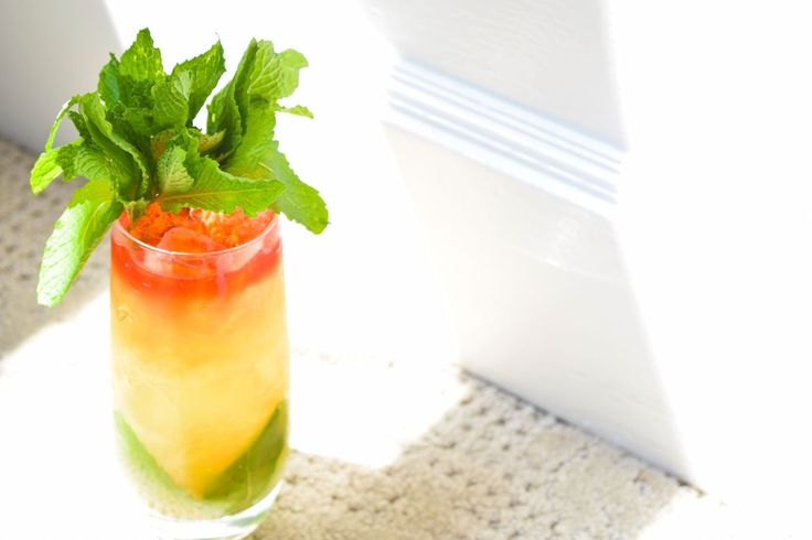Danforth Swizzle 8-10 Mint Leaves  1 oz Myers Dark  1 oz Drambuie  1 oz lime juice  ½ oz Ginger Syrup  3 dashes Mr. Lee's Chinese Bitters  10 dashes Costal Root Aromatic Bitters  10 dashes Peychaud bitters