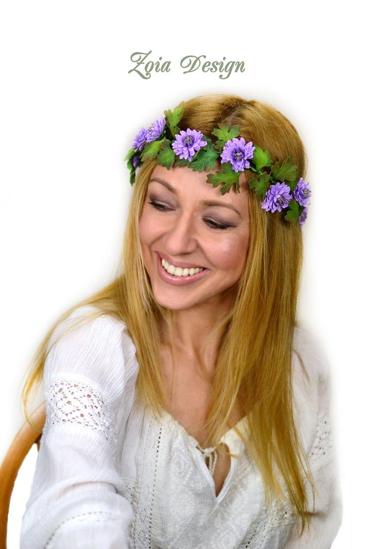 Bridal wreath, hair crown chrysanthemum, wedding wreath, hair band flowers,  marguerite hair crown, hair jewelry artificial flowers von ZoiaDesign auf Etsy