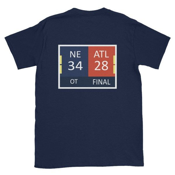 29-3 scoreboard on the front, 34-28 final score on the back. This tee tells the whole story of the Patriots epic SB51 comeback! Please note each tee is custom printed and takes 2-7 days for fulfill…