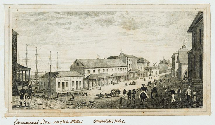 George St,Sydney near the Wharf showing Australian Hotel in 1829.