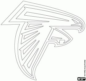 Logo for Atlanta Falcons, american football team from the NFC South division, Atlanta, Georgia coloring page