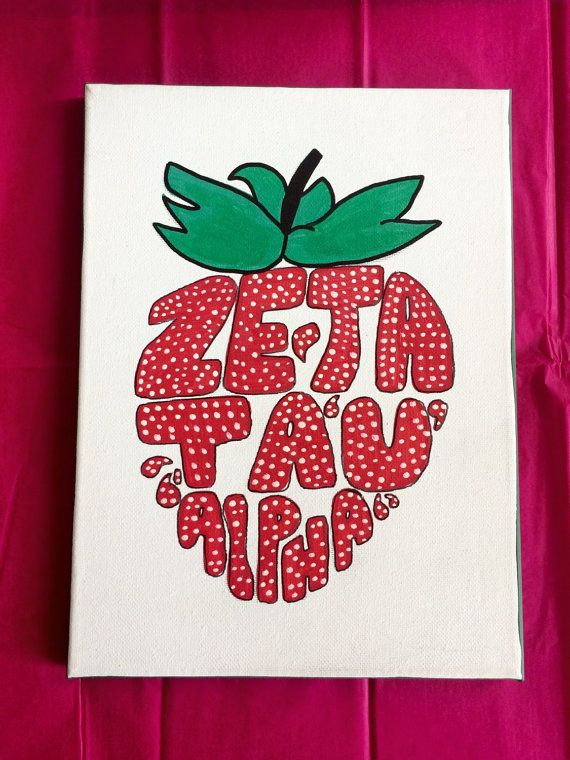 Zeta Tau Alpha strawberry inspired canvas that would be perfect for any zister! If you would like to customize it by adding a name, little, big,