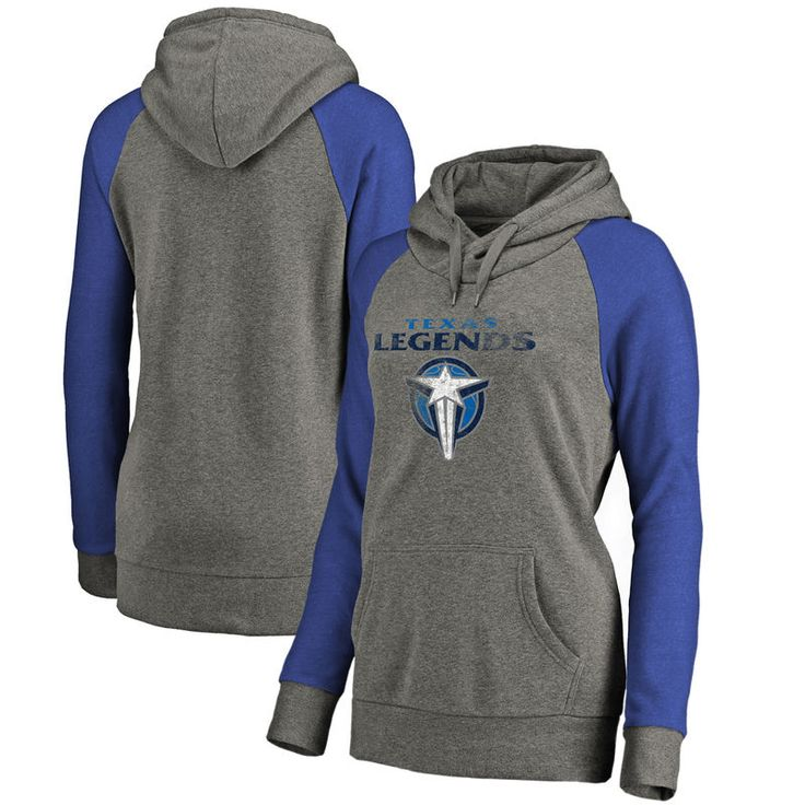 Texas Legends Fanatics Branded Women's Distressed Primary Tri-Blend Raglan Pullover Hoodie - Heathered Gray