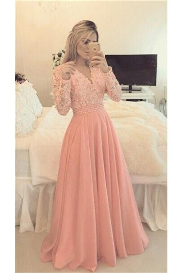 06b01c312bc11 Long Sleeves Pink Lace Beading V-neck Chiffon Long Prom Dresses Z0960