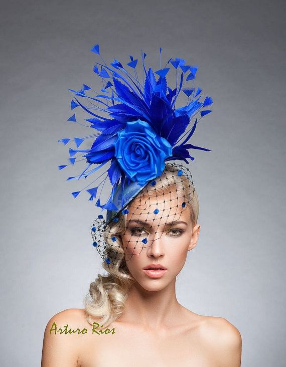 Royal Blue Fascinator Royal Blue cocktail hat by ArturoRios