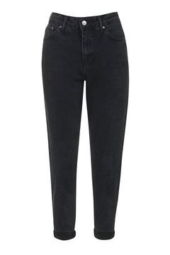 PETITE Washed Black Mom Jeans