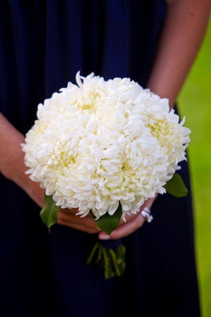 White Football Mums + Green Foliage Bridesmaid's Wedding Posy ••••