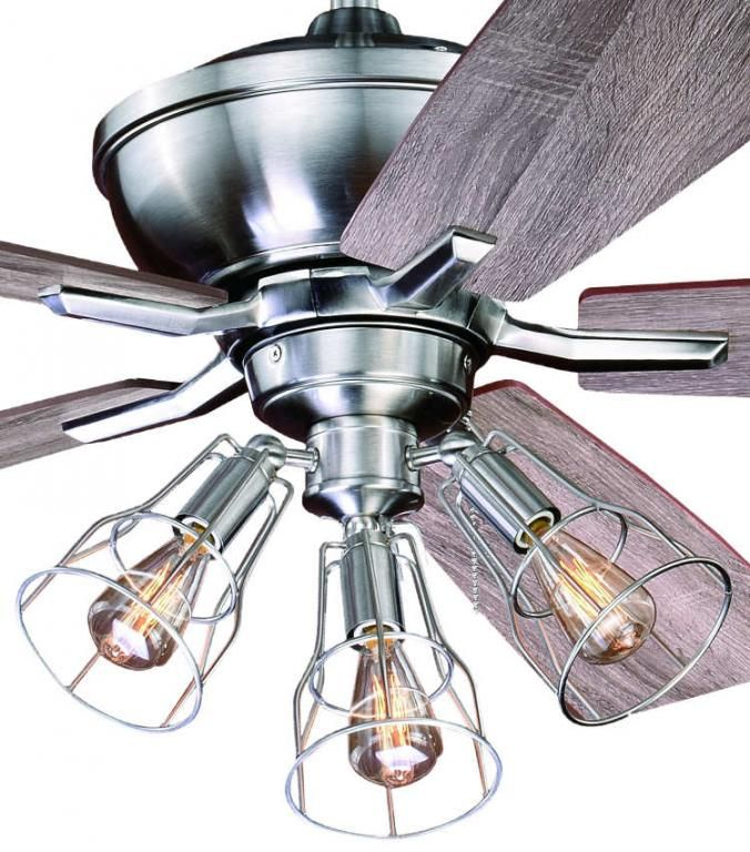 52 Stainless Edison Ceiling Fan W Industrial Cage Light Rustic