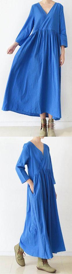 2017 BLUE V NECK LINEN DRESSES PLUS SIZE CASUAL SUNDRESS LONG SLEEVE