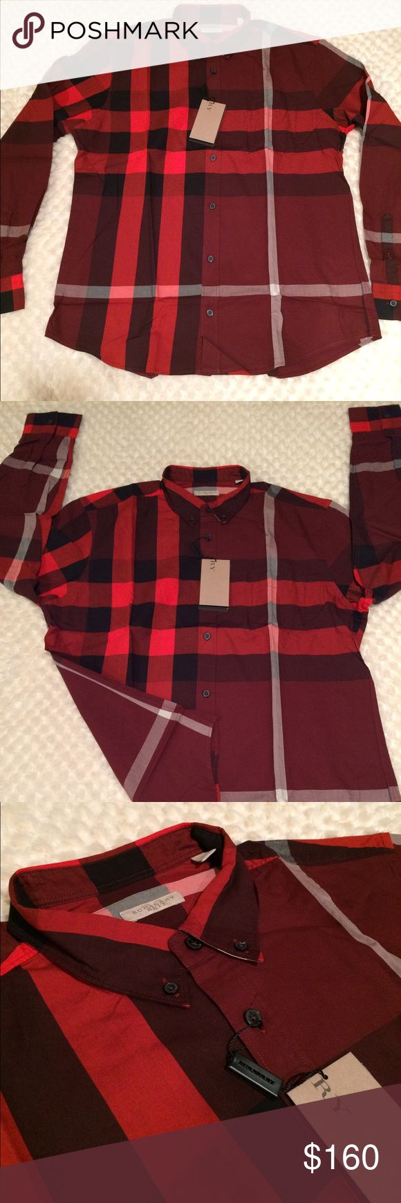New burberry shirt for men New with tags burberry shirt long sleeves 100% cotton color red Burberry Shirts Casual Button Down Shirts