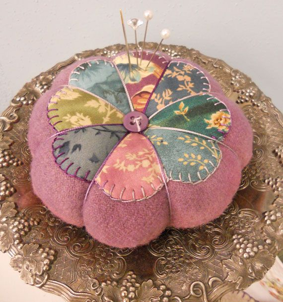 Felted pincushion with dresden plate.