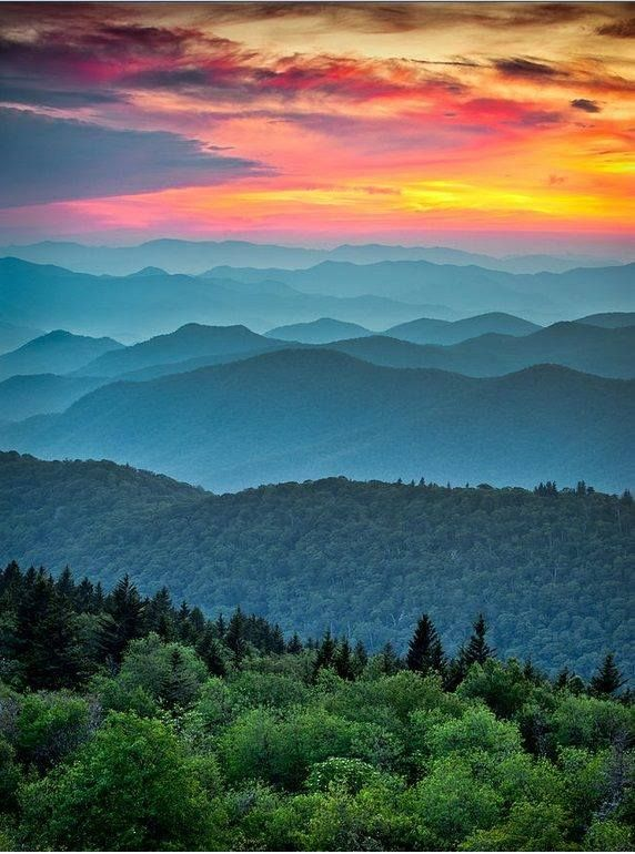 In Virginia - Blue Ridge Mountains Parkway Sunset - The Great Blue Yonder [memories of views before my first decade]