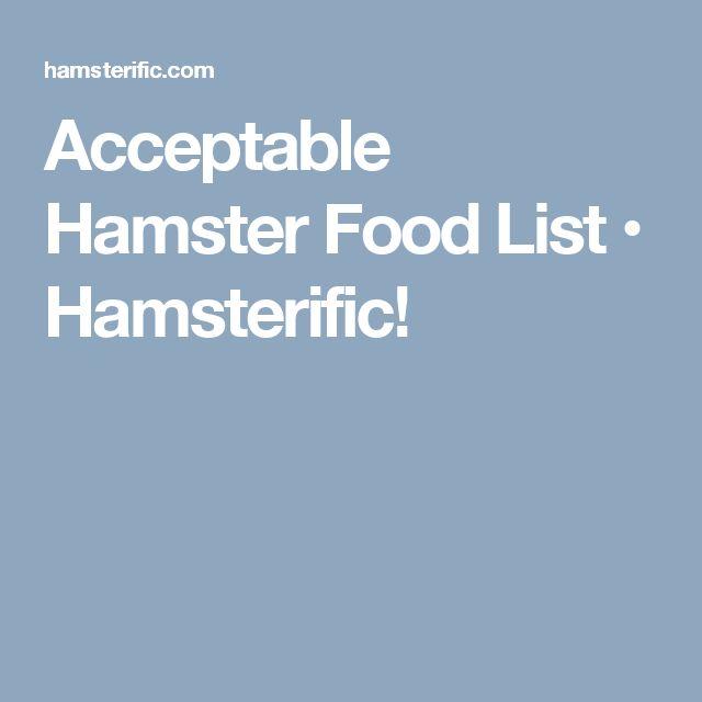 Hamsterific Food List