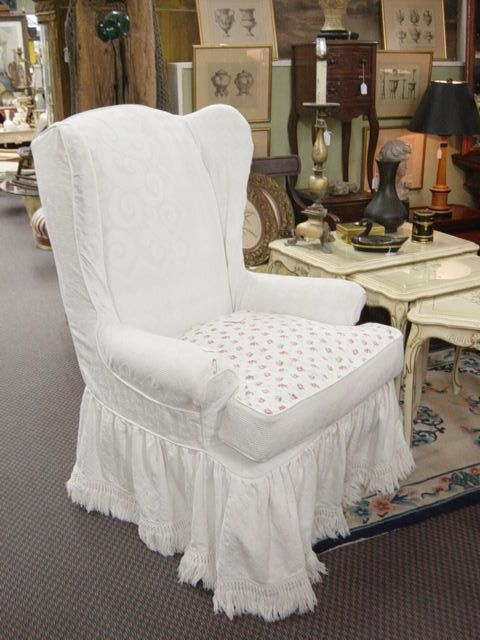 slipcovered chairs shabby chic | ... Antiques: VINTAGE SHABBY CHIC CUSTOM MATELASIE FABRIC WING BACK CHAIR