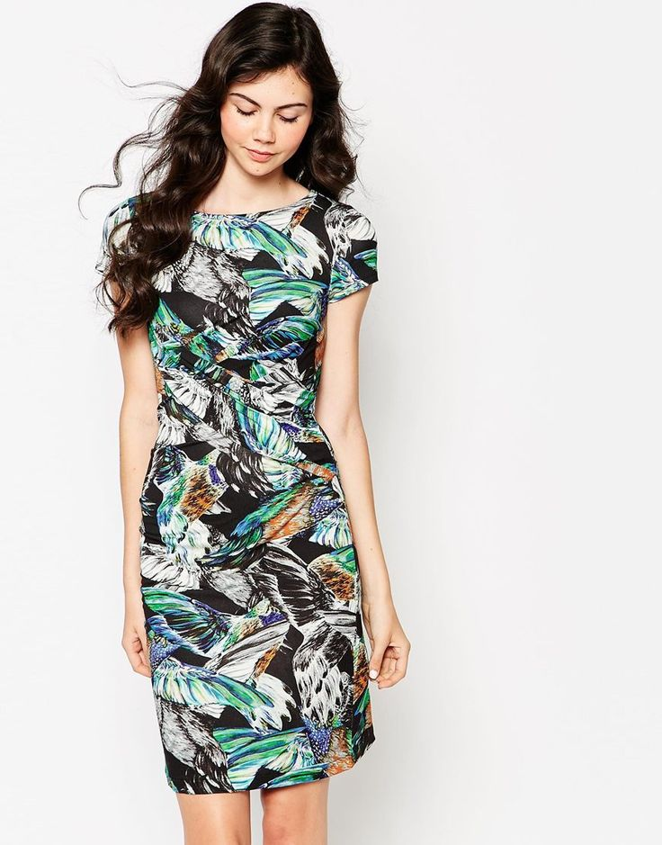 French Connection Calliope Multi Print Jersey Split Dress