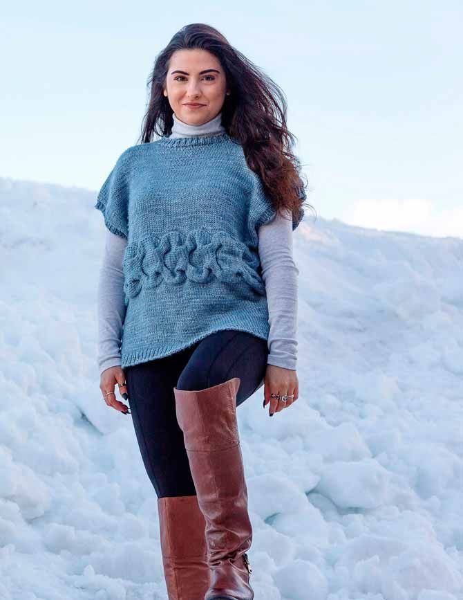 Berner Oberland Cabled Pullover designed by Jacqueline Grice for ANPTmag Winter 2015/16 Issue. Growing up in Switzerland, my parents took me and my brother skiing every winter in the region of Berner Oberland. It was so easy to go skiing as the slopes were so very close to home – I miss those mountains so much.  It's no surprise to have designed this BERNER OBERLAND Cabled Pullover as I surely would have worn it over my jeans or leg- warmers on those sunny hot days skiing in the majestic…