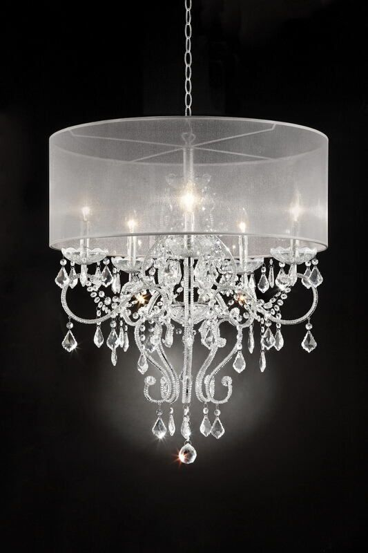 Silver Chrome Finish Metal And Glass Crystal Hanging Chandeliar Ceiling  Lamp With Collapsible Sheer Shade.