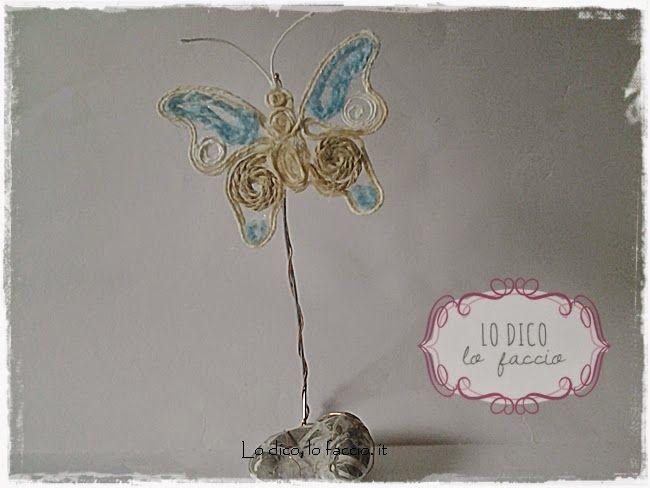 Lo Dico, lo Faccio : Segnaposto volante con farfalla di spago e colla