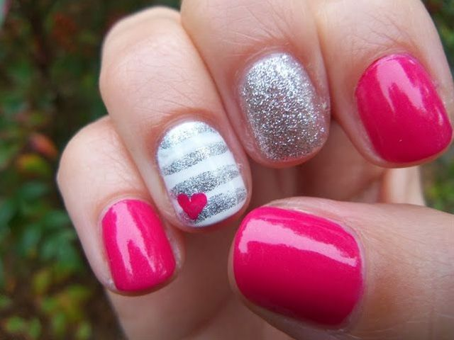 i love the strips might change the pink to turquoise hot pink and silver nailart